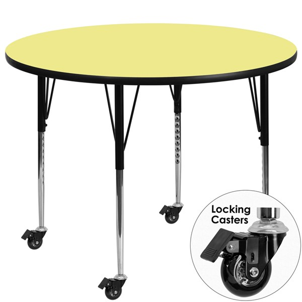 Mobile 48 Inch Activity Table W/Yellow Thermal-Fused Laminate Top FLF-XU-A48-RND-YEL-T-A-CAS-GG