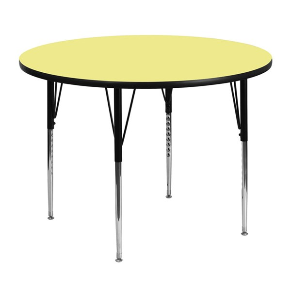 Metal Round Activity Table W/Yellow Laminate Top & Adjustable Legs FLF-XU-A48-RND-YEL-T-A-GG