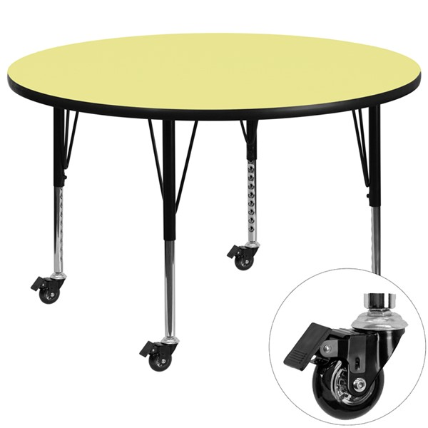 Flash Furniture Mobile 48 Inch Round Activity Table with Yellow Thermal Fused Laminate Top FLF-XU-A48-RND-YEL-T-P-CAS-GG