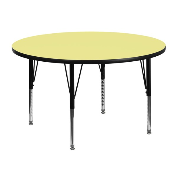 Flash Furniture 48 Inch Round Activity Table with Yellow Thermal Fused Laminate Top FLF-XU-A48-RND-YEL-T-P-GG