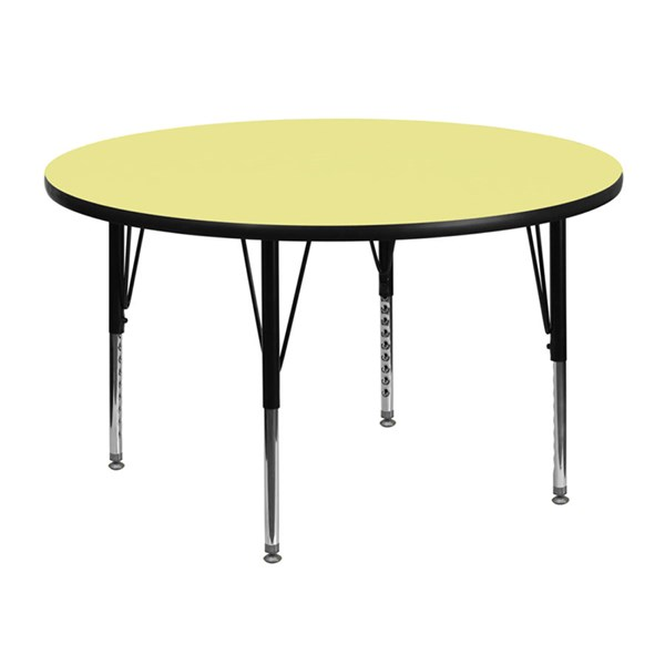 48 Inch Round Table W/Yellow Laminate Top & Height Adjustable Legs FLF-XU-A48-RND-YEL-T-P-GG