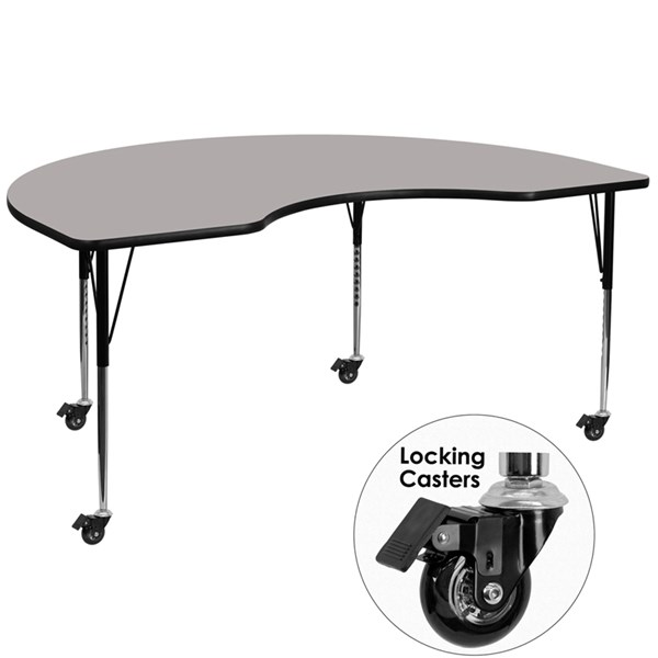 Mobile Gray Kidney Shaped Activity Table W/Laminate Top (W 48 X L 72) FLF-XU-A4872-KIDNY-GY-H-A-CAS-GG