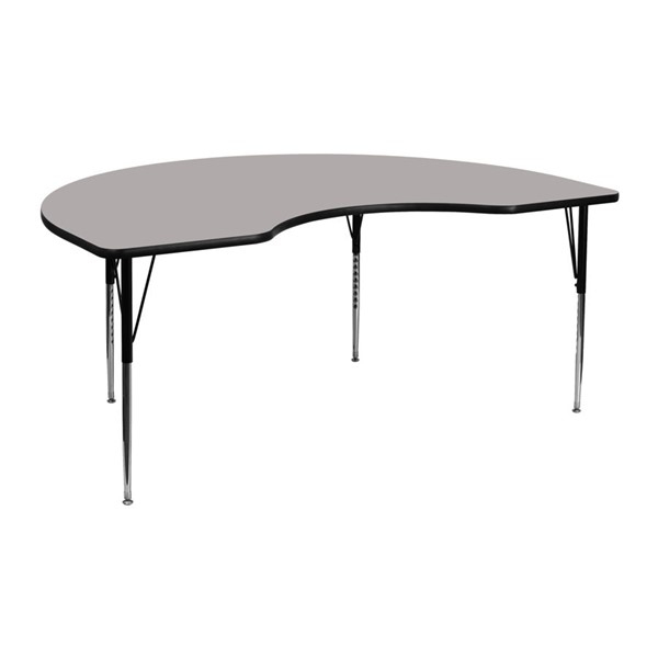 Flash Furniture Kidney Shaped Activity Table with Grey Top and Adjustable Legs FLF-XU-A4872-KIDNY-GY-H-A-GG