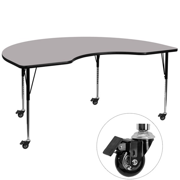 Flash Furniture Mobile Gray Kidney Shaped Activity Table with Thermal Fused Top FLF-XU-A4872-KIDNY-GY-T-A-CAS-GG