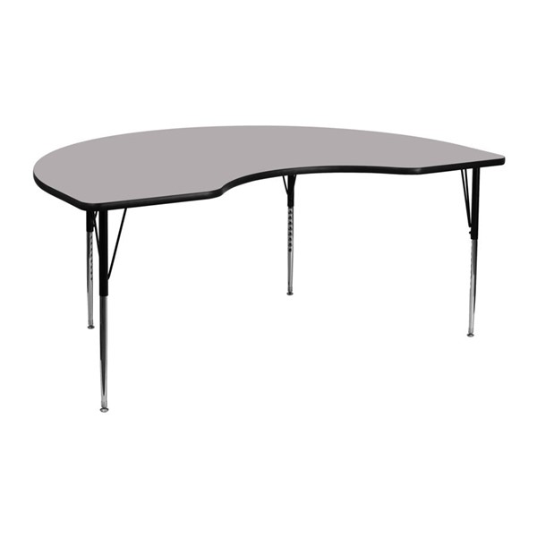 Flash Furniture Kidney Shaped Table with Grey Thermal Top and Adjustable Legs FLF-XU-A4872-KIDNY-GY-T-A-GG
