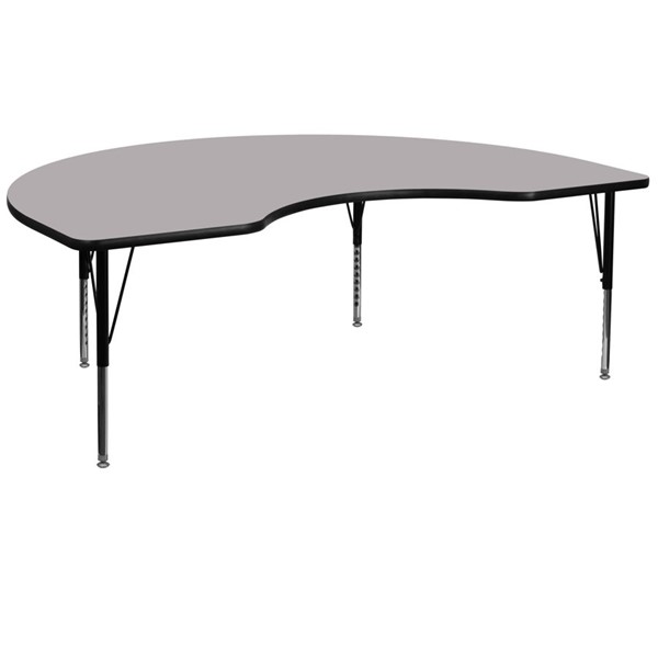 Flash Furniture Kidney Shaped Table with Grey Thermal Top and Pre-School Legs FLF-XU-A4872-KIDNY-GY-T-P-GG