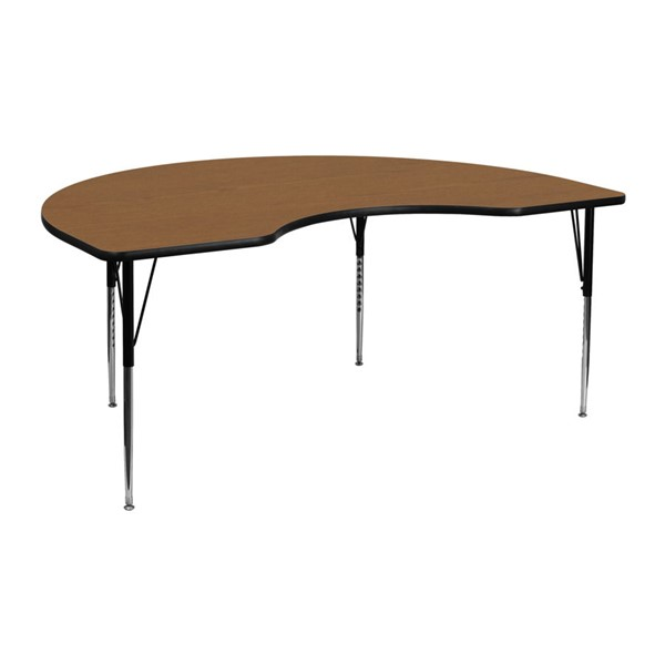 Flash Furniture Kidney Shaped Table with Oak Thermal Top and Adjustable Legs FLF-XU-A4872-KIDNY-OAK-T-A-GG