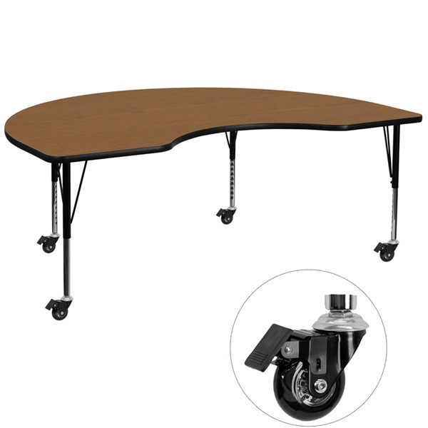 Flash Furniture Mobile 48 X 72 Kidney Shaped Activity Table with Oak Thermal Fused Top FLF-XU-A4872-KIDNY-OAK-T-P-CAS-GG