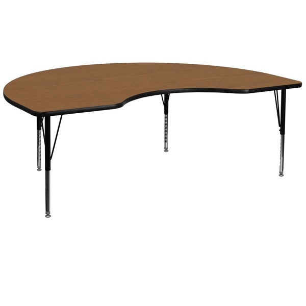 Flash Furniture Kidney Shaped Table with Oak Thermal Top and Pre-School Legs FLF-XU-A4872-KIDNY-OAK-T-P-GG