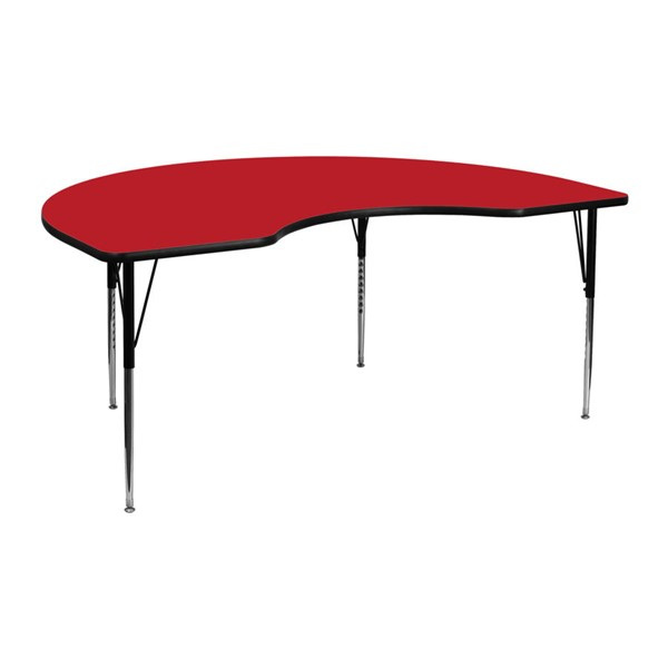 Flash Furniture Kidney Shaped Activity Table with Red Top and Adjustable Legs FLF-XU-A4872-KIDNY-RED-H-A-GG