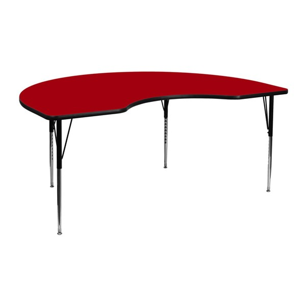 Flash Furniture Kidney Shaped Table with Red Thermal Top and Adjustable Legs FLF-XU-A4872-KIDNY-RED-T-A-GG