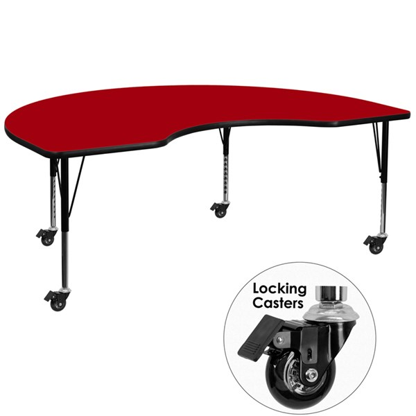 Mobile 48 x 72 Kidney Shaped Activity Table with Red Thermal Fused Top FLF-XU-A4872-KIDNY-RED-T-P-CAS-GG