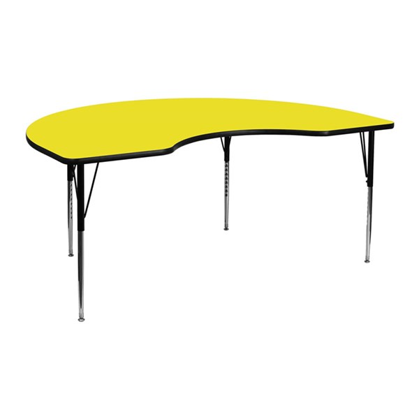 48 W X 72 L Kidney Shaped Activity Table W/Yellow Top & Adjustable Leg FLF-XU-A4872-KIDNY-YEL-H-A-GG