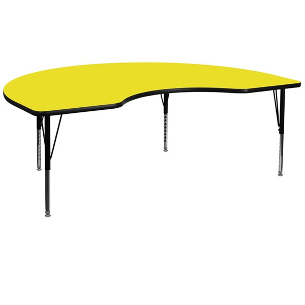 Flash Furniture Kidney Shaped Activity Table with Yellow Top and Pre-School Leg FLF-XU-A4872-KIDNY-YEL-H-P-GG