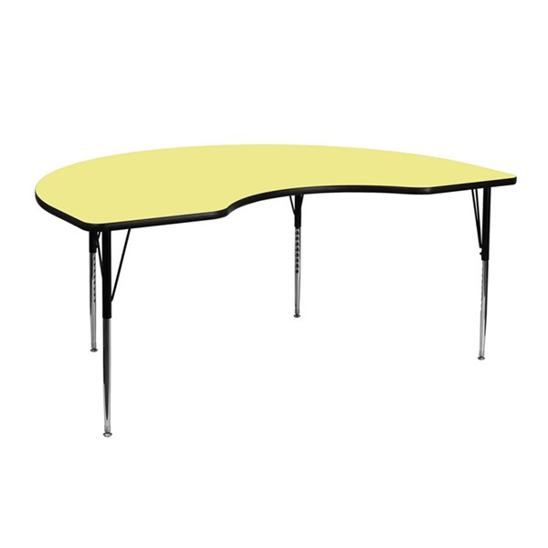 48 W X 72 L Kidney Shaped Table W/Yellow Thermal Top & Adjustable Legs FLF-XU-A4872-KIDNY-YEL-T-A-GG