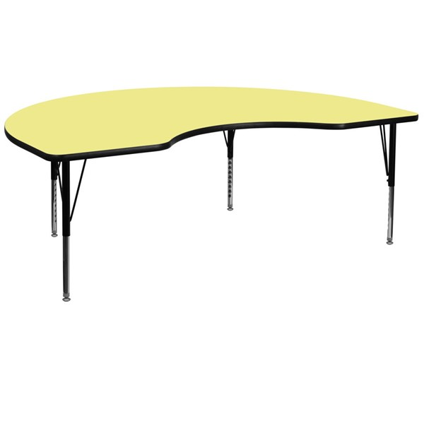 Flash Furniture Kidney Shaped Table with Yellow Thermal Top and Pre-School Legs FLF-XU-A4872-KIDNY-YEL-T-P-GG
