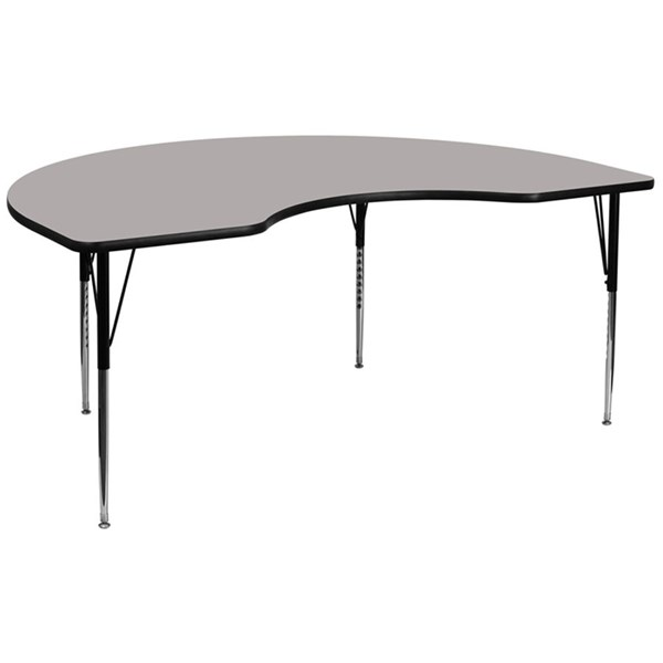 48 W X 96 L Kidney Shaped Activity Table W/Grey Top & Adjustable Legs FLF-XU-A4896-KIDNY-GY-H-A-GG