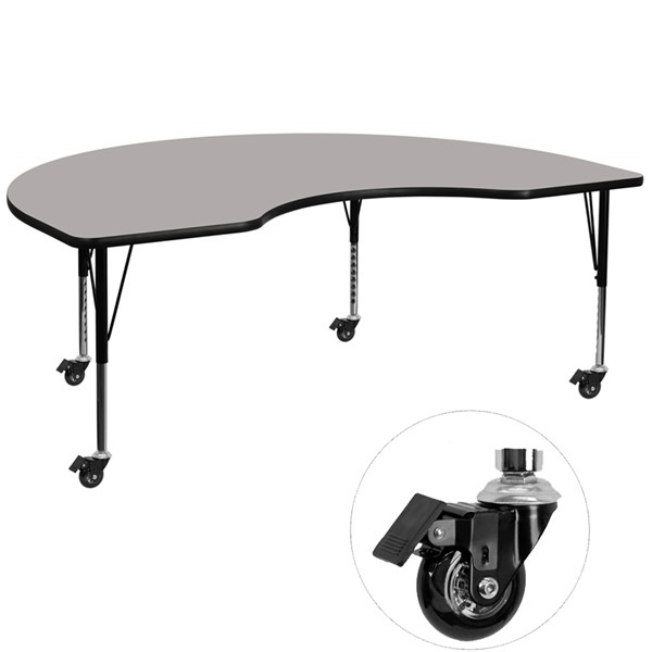 Flash Furniture Mobile 48 X 96 Kidney Shaped Activity Table with Grey Laminate Top FLF-XU-A4896-KIDNY-GY-H-P-CAS-GG
