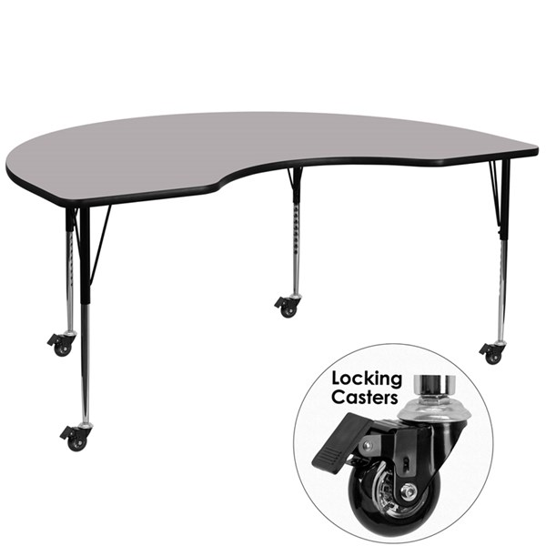 Mobile Activity Table W/Grey Thermal Fused Top (W 48 X L 96) FLF-XU-A4896-KIDNY-GY-T-A-CAS-GG