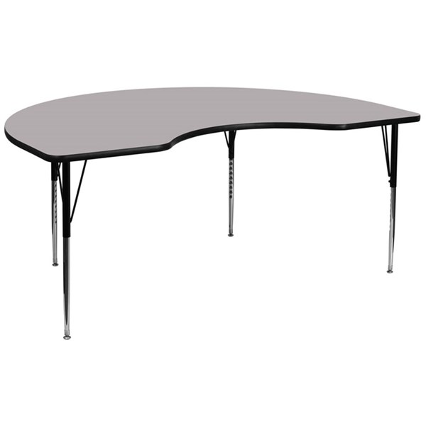 48 W X 96 L Kidney Shaped Table W/Grey Thermal Top & Adjustable Legs FLF-XU-A4896-KIDNY-GY-T-A-GG