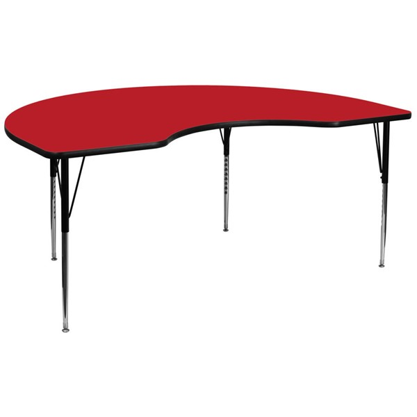 Flash Furniture Kidney Shaped Activity Table with Red Laminate Top and Adjustable Legs FLF-XU-A4896-KIDNY-RED-H-A-GG