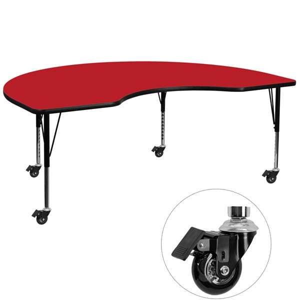 Flash Furniture Mobile 48 X 96 Kidney Shaped Activity Table with Red Laminate Top FLF-XU-A4896-KIDNY-RED-H-P-CAS-GG