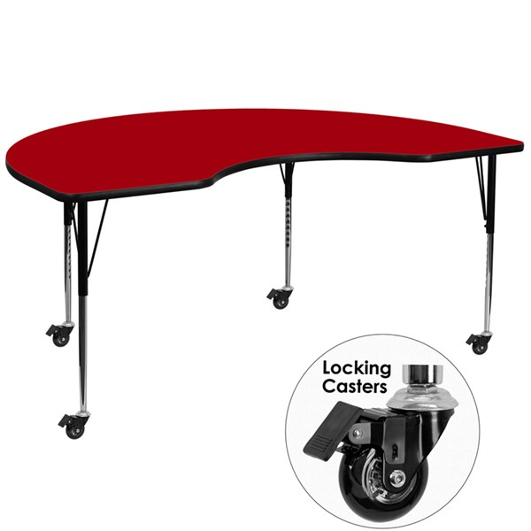 Mobile Activity Table W/Thermal Fused Top (W 48 X L 96) FLF-XU-A4896-KIDNY-RED-T-A-CAS-GG