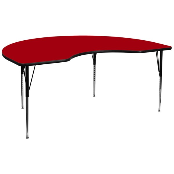 Flash Furniture Kidney Shaped Table with Red Thermal Laminate Top and Adjustable Legs FLF-XU-A4896-KIDNY-RED-T-A-GG