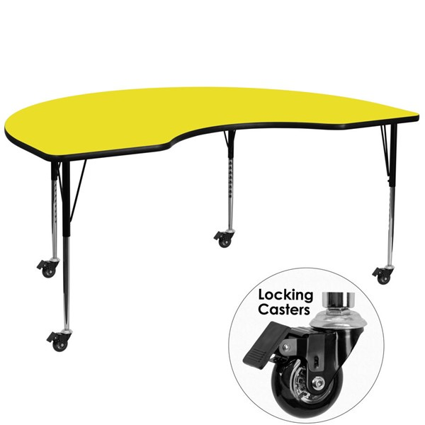 Flash Furniture Yellow Kidney Shaped Activity Table with Laminate Top FLF-XU-A4896-KIDNY-YEL-H-A-CAS-GG