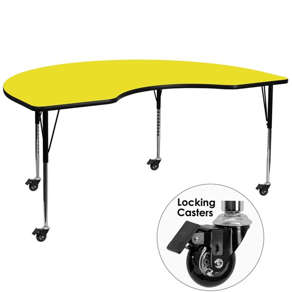 Mobile Kidney Shaped Activity Table W/Laminate Top (W 48 X L 96) FLF-XU-A4896-KIDNY-YEL-H-A-CAS-GG