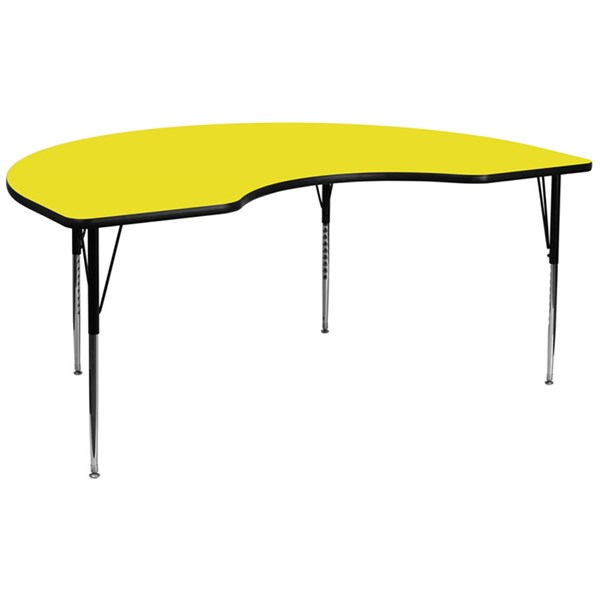 48 W X 96 L Kidney Shaped Activity Table W/Yellow Top & Adjustable Leg FLF-XU-A4896-KIDNY-YEL-H-A-GG