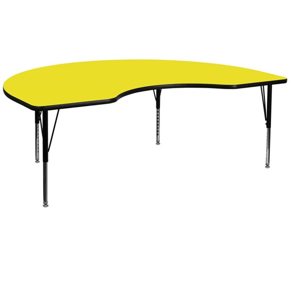 48 W X 96 L Kidney Shaped Activity Table W/Yellow Top & Pre-School Leg FLF-XU-A4896-KIDNY-YEL-H-P-GG