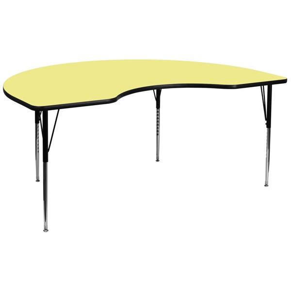 Flash Furniture Kidney Shaped Table with Yellow Thermal Laminate Top and Adjustable Legs FLF-XU-A4896-KIDNY-YEL-T-A-GG