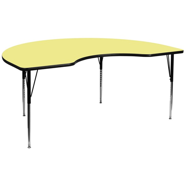 48 W X 96 L Kidney Shaped Table W/Yellow Thermal Top & Adjustable Legs FLF-XU-A4896-KIDNY-YEL-T-A-GG