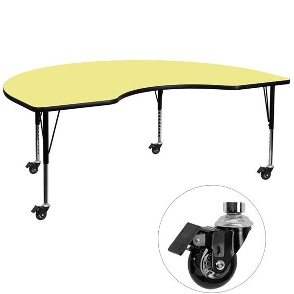 Flash Furniture Mobile 48 X 96 Kidney Shaped Activity Table with Yellow Thermal Fused Top FLF-XU-A4896-KIDNY-YEL-T-P-CAS-GG