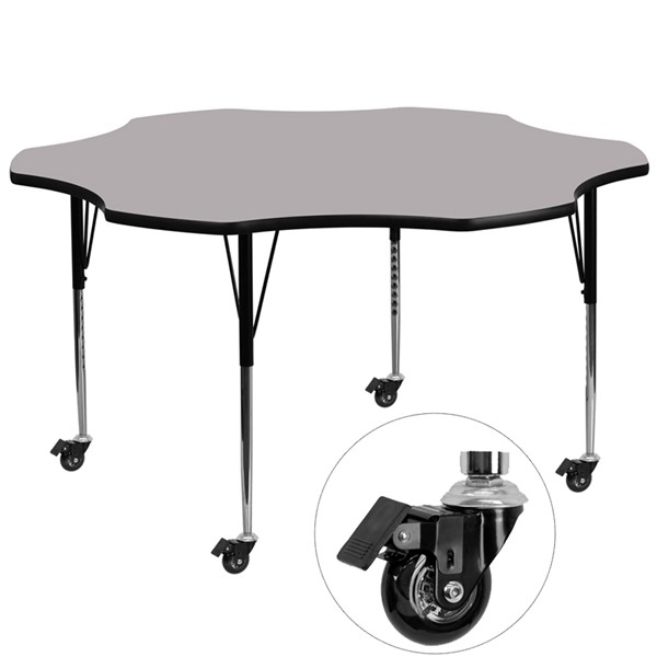 Flash Furniture Mobile 60 Inch Flower Shaped Activity Table with Grey Thermal-Fused Top FLF-XU-A60-FLR-GY-T-A-CAS-GG