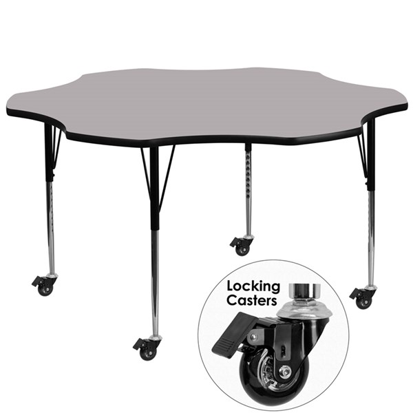 Mobile 60 Inch Flower Shaped Activity Table W/Grey Thermal-Fused Top FLF-XU-A60-FLR-GY-T-A-CAS-GG