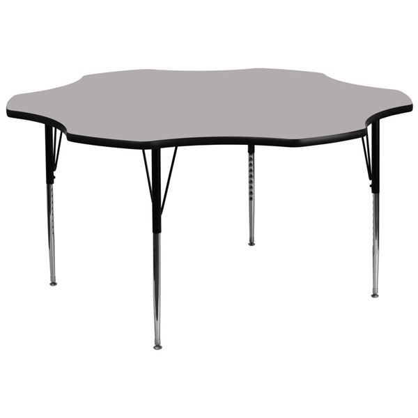 Flash Furniture 60 Inch Flower Shaped Table with Grey Thermal Fused Top and Adjustable Legs FLF-XU-A60-FLR-GY-T-A-GG