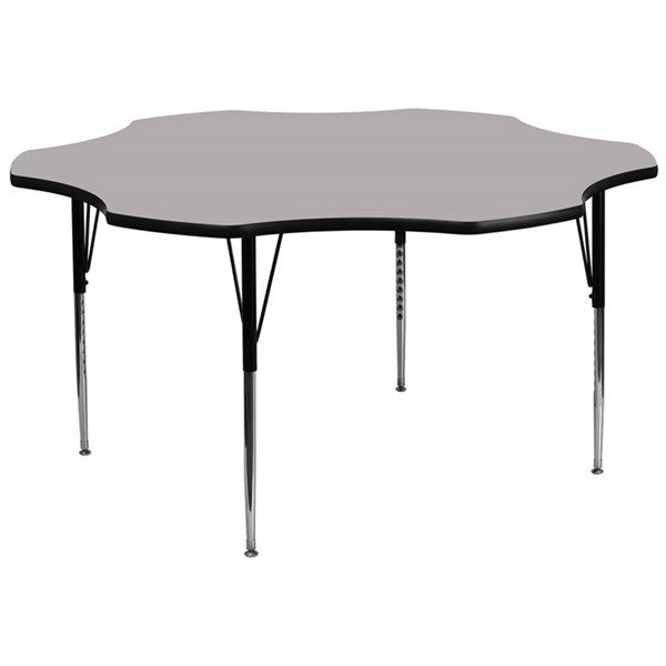 60 Inch Flower Shaped Tables W/Thermal Fused Top & Adjustable Legs FLF-XU-A60-FLR-T-A-GG-VAR
