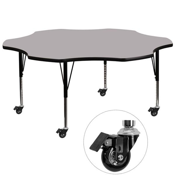 Flash Furniture Mobile 60 Inch Flower Shaped Activity Table with Grey Thermal Fused Top FLF-XU-A60-FLR-GY-T-P-CAS-GG