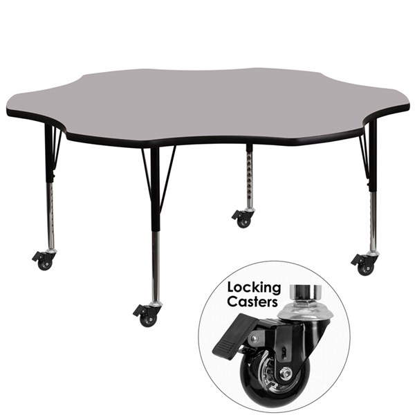 Mobile 60 Inch Flower Shaped Activity Table W/Grey Thermal Fused Top FLF-XU-A60-FLR-GY-T-P-CAS-GG