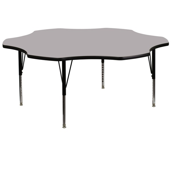 Flash Furniture 60 Inch Flower Shaped Table with Grey Thermal Fused Top and Pre-School Legs FLF-XU-A60-FLR-GY-T-P-GG