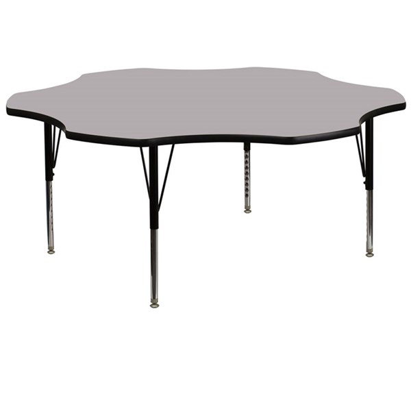Flash Furniture 60 Inch Flower Shaped Tables with Thermal Fused Top and Pre-School Legs FLF-XU-A60-FLR-T-P-GG-VAR