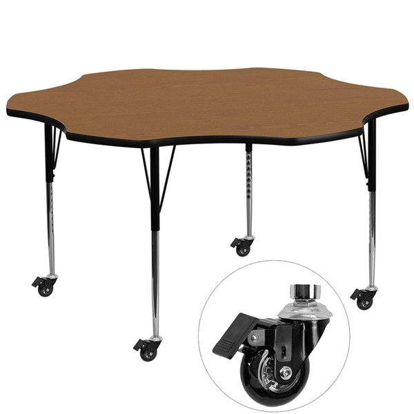 Flash Furniture Mobile 60 Inch Flower Shaped Activity Table with Oak Thermal-Fused Top FLF-XU-A60-FLR-OAK-T-A-CAS-GG