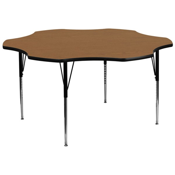 Flash Furniture 60 Inch Flower Shaped Table with Oak Thermal Fused Top and Adjustable Legs FLF-XU-A60-FLR-OAK-T-A-GG