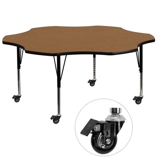 Flash Furniture Mobile 60 Inch Flower Shaped Activity Table with Oak Thermal Fused Top FLF-XU-A60-FLR-OAK-T-P-CAS-GG