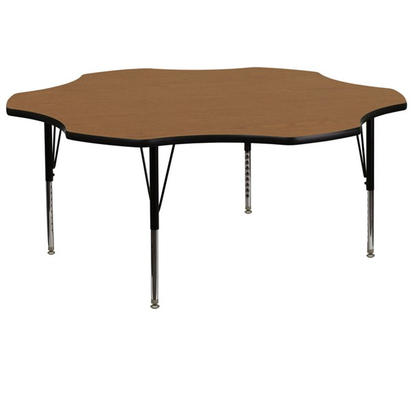 Flash Furniture 60 Inch Flower Shaped Table with Oak Thermal Fused Top and Pre-School Legs FLF-XU-A60-FLR-OAK-T-P-GG