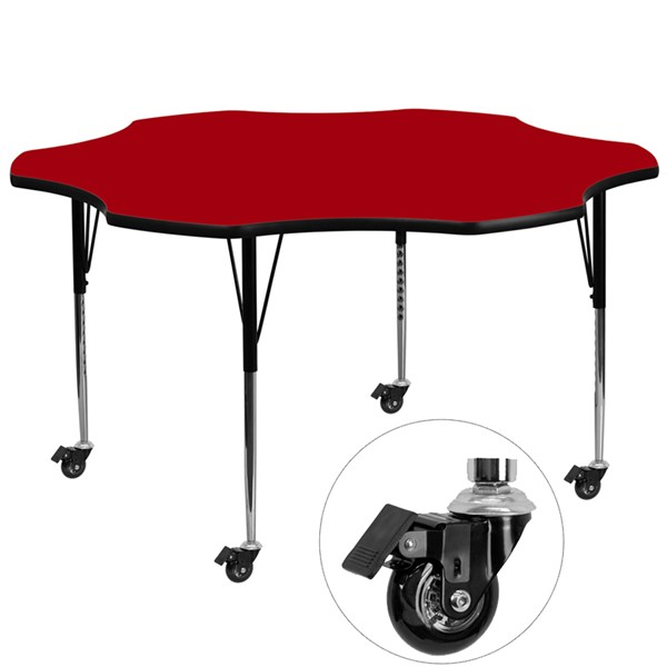 Flash Furniture Mobile 60 Inch Flower Shaped Activity Table with Red Thermal-Fused Top FLF-XU-A60-FLR-RED-T-A-CAS-GG