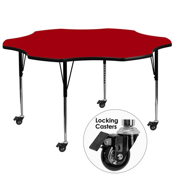 Mobile 60 Inch Flower Shaped Activity Table W/Red Thermal-Fused Top FLF-XU-A60-FLR-RED-T-A-CAS-GG