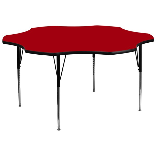 Flash Furniture 60 Inch Flower Shaped Table with Red Thermal Fused Top and Adjustable Legs FLF-XU-A60-FLR-RED-T-A-GG